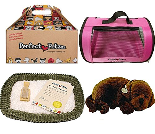 Perfect Petzzz Chocolate Lab Plush with Pink Tote For Plush Breathing Pet