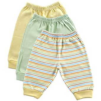 Luvable Friends 3-Pack Baby Pants, Yellow, 0-3 months