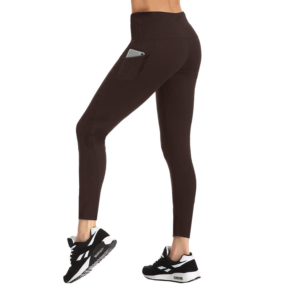 HLTPRO High Waist Yoga Pants - Tummy Control Non See-Through Yoga Leggings with Pockets for Workout, Running (Brown, Medium) by HLTPRO