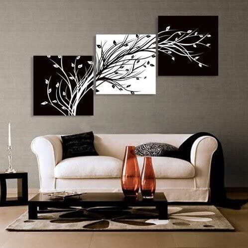50*50 framed Weave Hair Abstract the black and white flowers decorative painting plum is the wind canvas modern art of three pieces