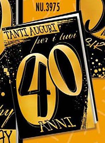 Tarjeta Felicitación cumpleaños 40 años papel Lusso efecto ...