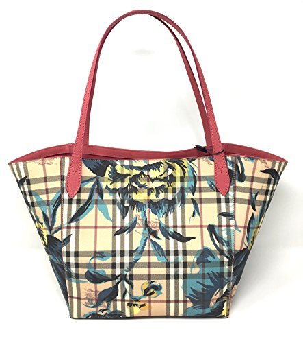 Burberry The Small Canter in Peony Rose Print Haymarket Check Plumpink/Pewtr - Burberry Print Check