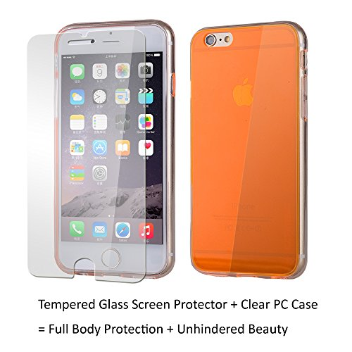 Clambo Apple iPhone 6 Plus Case iPhone 6S Plus Case, Scratch Resistant, Clear Case for iPhone 6 Plus iPhone 6S Plus Case + Tempered Glass Screen Protector. Bundle-2 items (Neon - Orange Case Neon Iphone Plus 6