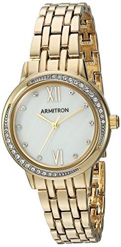 Armitron Women's 75/5516MPGP Swarovski Crystal Accented Gold-Tone Bracelet Watch