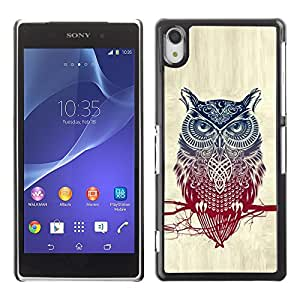 Impact Case Cover with Art Pattern Designs FOR Sony Xperia Z2 Cool Detailed Owl Pattern Betty shop