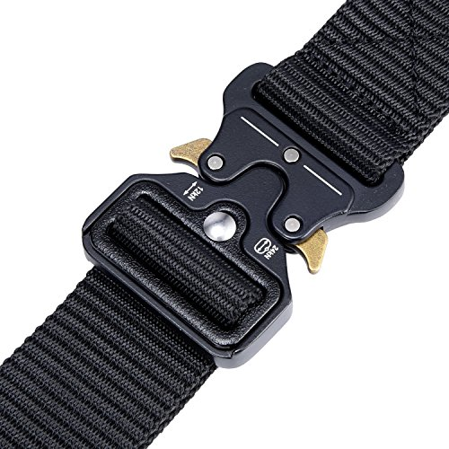 Military Tactical Belt,Quick Release Buckle, Long 43''-55'' Wide1.5'',Heavy Duty Waist Belt (Black, 47 inch) by MarkPorda (Image #3)