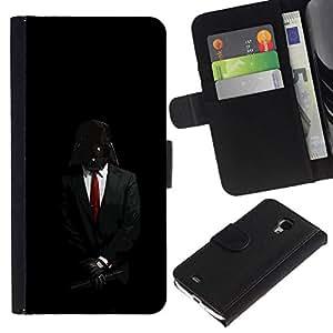 NEECELL GIFT forCITY // Billetera de cuero Caso Cubierta de protección Carcasa / Leather Wallet Case for Samsung Galaxy S4 Mini i9190 // Darth Anónimo Rebel Señor