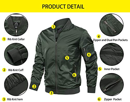 TACVASEN Men's Jacket-Lightweight Casual Spring Fall Thin Bomber Zip Pockets Coat Outwear
