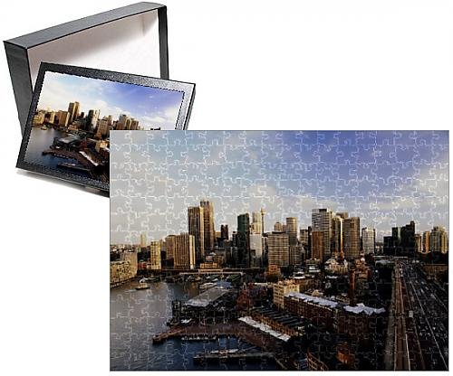 252 Piece Puzzle of Australia, Sydney, Circular Quay and downtown skyline, aerial view (9874687) Australian Rails