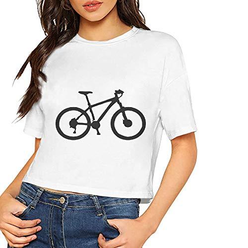 JiJingHeWang Women's T-Shirt Downhill MTB Hardtail Mountain Bike Short Sleeves Lumbar Tee - Bamboo Hardtail