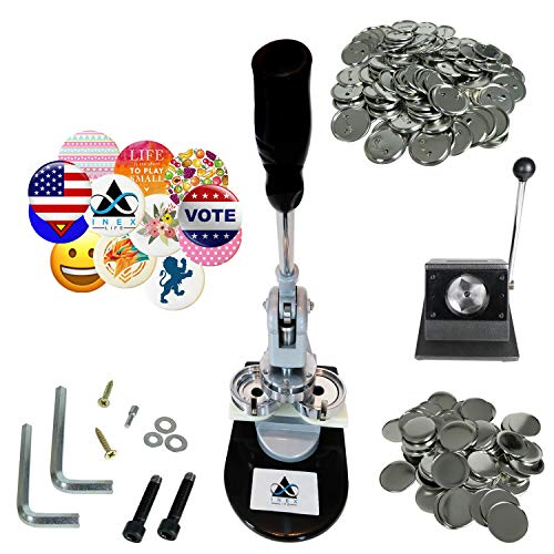(Button Maker Badge Making Machine - 58mm 2 ¼ inch 2.28 inch | Heavy Duty Circle Cutter Punch Press Machine | 1000 Circle Button Parts - Metal Badge Button Shell & Pin Back | All-in-One Complete DIY)