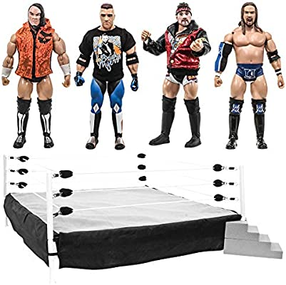 Rising Stars of Wrestling Series Action Figures Set of 4 Loose Figures /& Ring