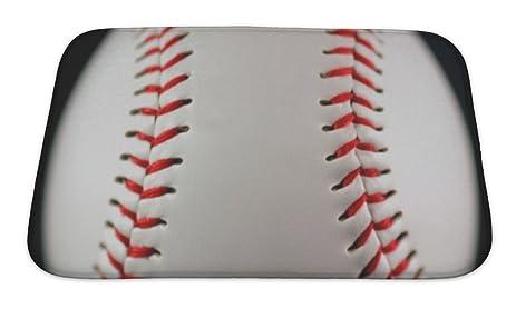 Gear New No Slip Microfiber Memory Foam Baseball Bath Rug Mat, 24u0026quot; ...