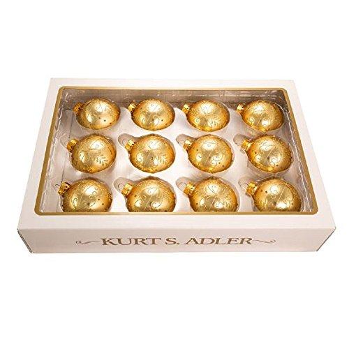 - Kurt Adler 60mm Gold With Pattern Glass Ball, Set of 12