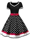 Nihsatin Women's Vintage 1950s Retro Rockabilly Swing Cocktail Dresses with Belt