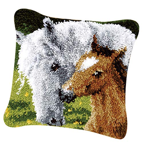 SM SunniMix Pillow Case Latch Hook Kit with Basic Tools 43 x 43cm Animal Pattrn DIY Needles Crafts - Horse