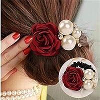 Guoshang Pearls Beads Rose Flower Hair Band Rope Scrunchie Ponytail Holder