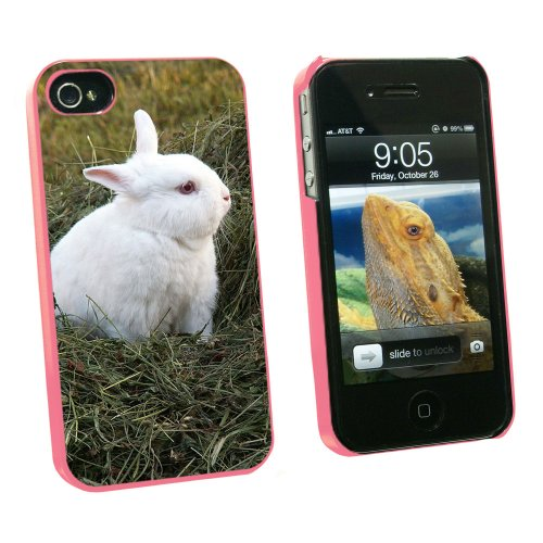 Graphics and More Bunny Rabbit White - Easter - Snap On Hard Protective Case for Apple iPhone 4 4S - Pink - Carrying Case - Non-Retail Packaging - Pink