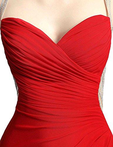Belle Robes De Soirée Longue En Mousseline De Femmes Maison Robe De Célébrité De Bal De Perles De Lx467 Rouge