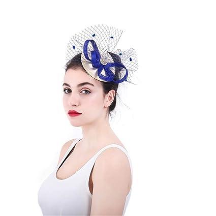 Fascinators Hat Feather Headwear Cappello Fascinator di veli di Piuma del  Fiore dei Cappelli del Partito 84190826dcd6