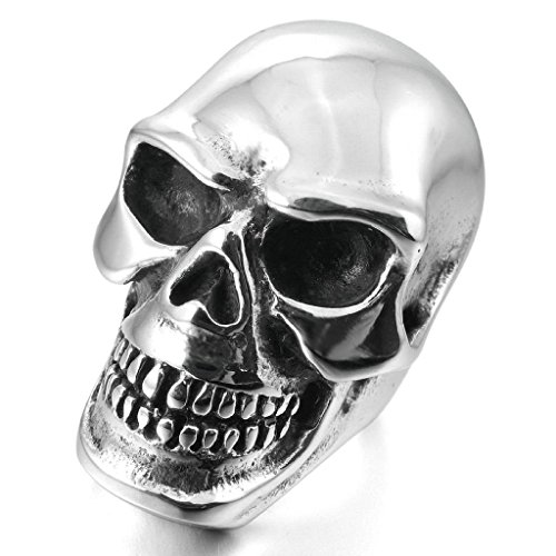 Aooaz Stainless Steel Rings For Men Heavy Large Bands Silver Skull Rings Size 13 Punk Free Engraving]()
