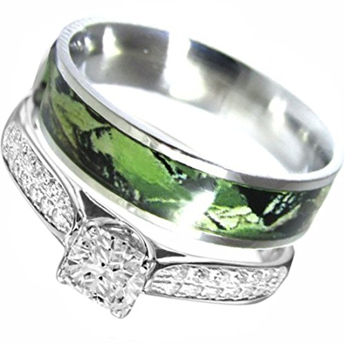 2 piece Sterling Silver Stainless Steel Camo Engagment Wedding Rings Set #SP24PC (Size Women 7)