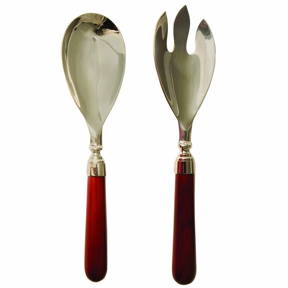 Salad Serving Set Stainless Steel with Natural Mahogany Wooden Handles
