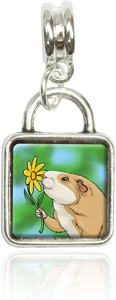 Made On Terra Guinea Pig Smelling Flower Euro European Italian Style Bracelet Bead Sqr Charm