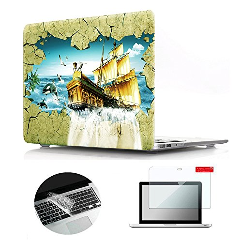 Se7enline Macbook Air Case 3D Pattern Soft Touch Hard Shell Plastic Laptop Protective Cover for Macbook Air 13 inch A1369/A1466 Silicone Keyboard Cover Skin Screen Protector 3 in 1 Bundle, Sailboat (Frosted Sailboat)