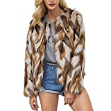 Comeon Womens Winter Warm Colorful Faux Fur Coat Chic Hooded Jacket Cardigan Outerwear Tops for Party Club Cocktail (US XL (Tag 2XL))