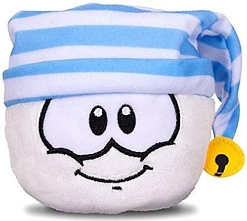 Disney Club Penguin 4 Inch Series 11 Plush Puffle White with Striped Cap Includes Coin with Code!