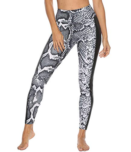 FITTOO Women's Yoga Pants Sport Pants Workout Leggings Sexy High Waist Trousers Leather Snake Print(L)