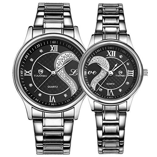 OOFIT Seine und ihre Edelstahl Armband Schwarz überzogenes Geschenk Uhren Paar Uhren (2er-Set)