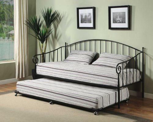 Kings Brand Matt Black Metal Twin Size Day Bed (Daybed) Frame With Metal  Slats - Daybed With Pop Up Trundle: Amazon.com