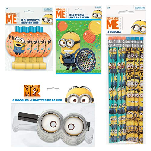 (Unique Despicable Me Minion Party Favors and Supplies | Pencils, Paper Goggles, Blowouts and Loot)