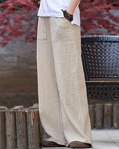 Morbidi Runyue Donna Onesize In Stile Lino Dritto Puro Cotone Pantaloni E Colore Elastica Vita Retro Beige Basic gqEfrqx