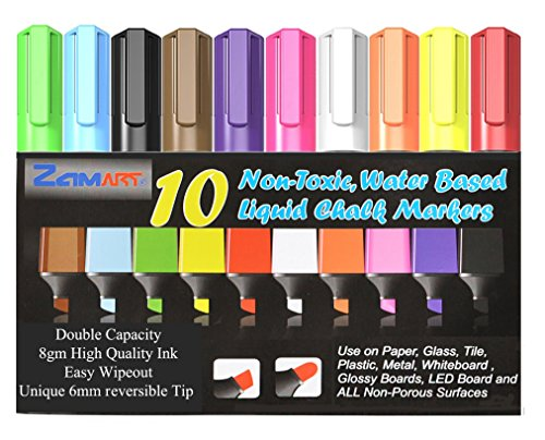 Liquid Chalk Markers Set (10-Pack) – Bold, Vibrant Colors – 6mm Reversible Tips – Non-Toxic, Odorless, Erasable – Crafts Art Supplies for Kids – Work on Chalkboards, Whiteboards, Paper, Glass & More by ZAM-Art