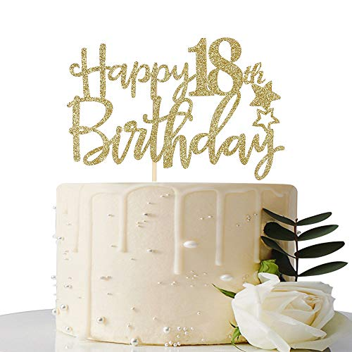 Gold Glitter Happy 18th Birthday Cake Topper,Hello 18, Forever 18 Party -
