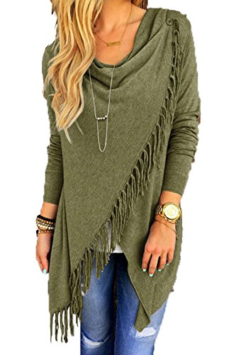 Nappe Waterfull Le Solido Lunga Cardigan Nimpansa Armygreen Daily Manica Wrap Donne BPOwSqnA
