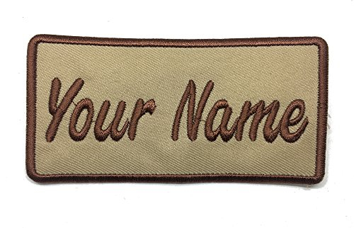 (Custom Embroidered Name Patch, Uniform Name Tag, Personalized Label/Iron on/Sew on/ 2x4 (Tan))