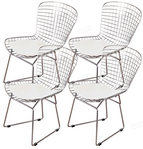 - Emorden Furniture Harry Bertoia Chromed Wire Frame Side Chair (White Pads, Set of 4)
