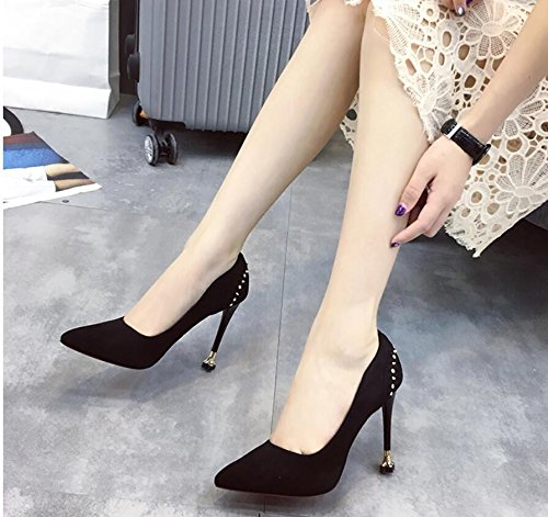 Tip Shoes Wedding High Fine Black Rivet Sexy 39 Mouth Shallow Shoes Women With Shoes Satin The Heel Single KHSKX qAIwnxTfn