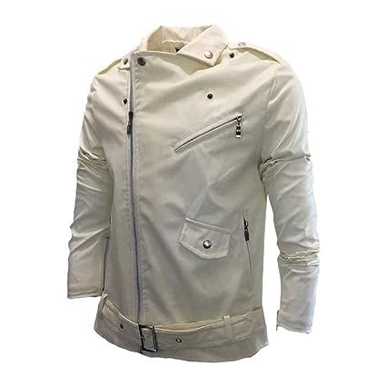 LuckyGirls Cazadora Estilo Motera Polipiel Chaqueta de Cuero para Hombre Cremallera Diagonal Parka Jacket Moda Abrigos