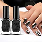 Black : Mirror Chrome Nail Polish , Mumustar Nail Art Lacquer Holographic Gel Plating Paste Stainless Steel UV Effect Nail Polish No Need Led Lamp Drying (Black)