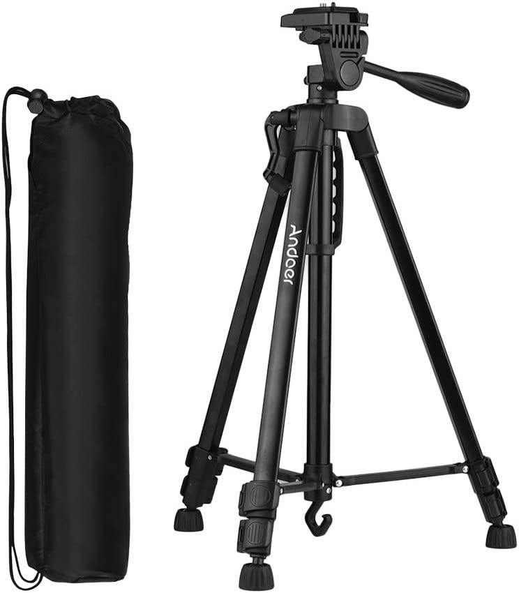 Andoer 53 Inch Lightweight Tripod Stand Aluminum Alloy Tripod with Carry Bag and Phone Holder for Canon Sony Nikon DSLR Camera for iPhone Samsung Huawei Smartphone Black (Max Load Capacity 6.6 lbs)