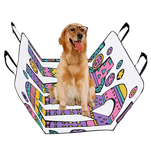 Dog Seat Cover Custom Psychedelic Hippie Love Lettering Colorful Flowers Quote Printing Car Seat Covers For Dogs 100% Waterproof Nonslip Durable Soft Pet Car Seat Dog Car Hammock For Cars Trucks Suv