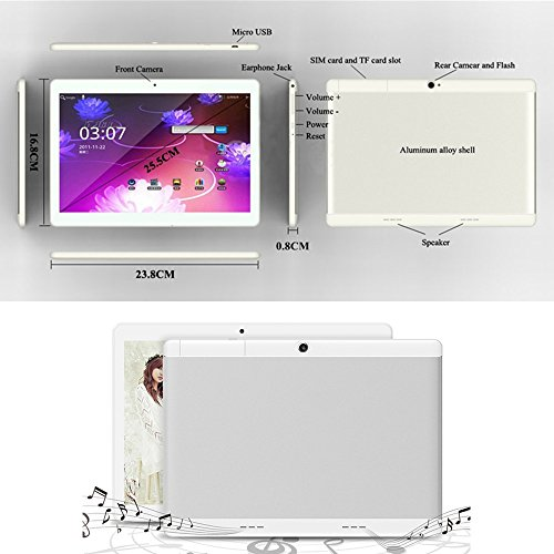 Android Tablet 10 Inch with Sim Card Slots - YELLYOUTH 10.1'' 4GB RAM 64GB ROM Octa Core 3G Unlocked GSM Phone Tablet PC with Wifi Bluetooth GPS - Silver by YELLYOUTH (Image #1)