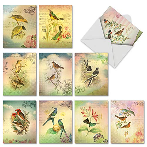 - Songbird Notes: 10 Assorted Blank All Occasions Note Cards Explore Images of Floral Arrangements Centered Around Beautiful Birds, with Envelopes. AM6948OCB-B1x10