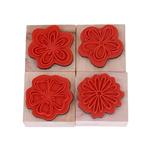4Pcs Vintage Flower Wood Stamp Seal for DIY Diary Photo Album Decoration Christmas Wedding Invitation Post Sealing Stamps