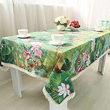 Style Chinois Table Fleur Vintage Rectangle Couverture Amazon Fr